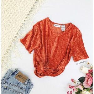 🌿 Vintage Tangerine Velvet Textured 90's Tee 🌿